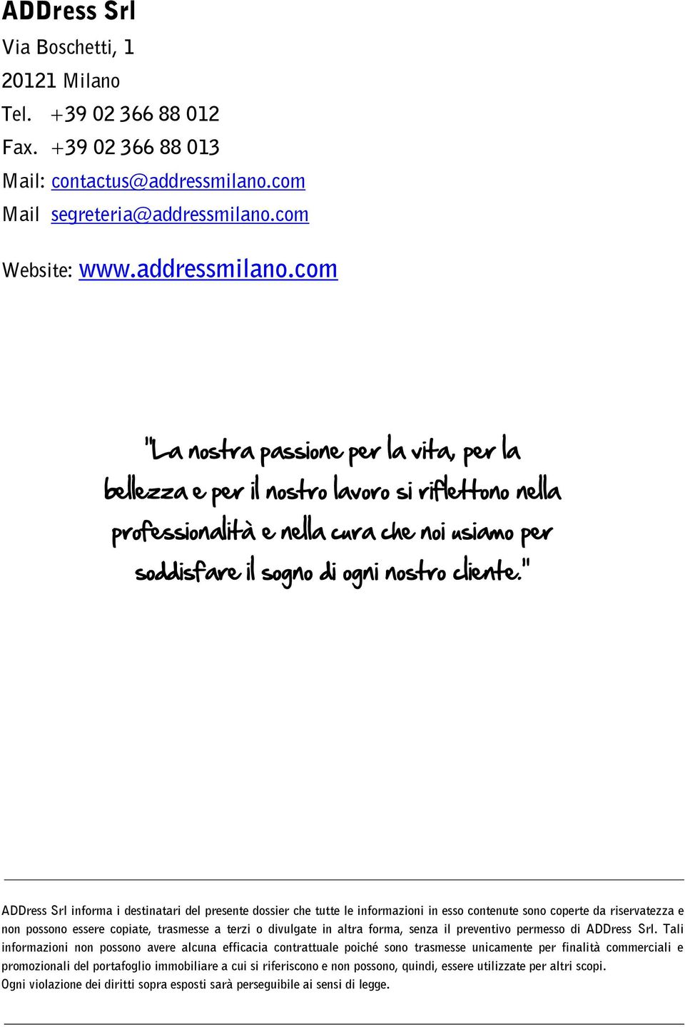 com Website: www.addressmilano.