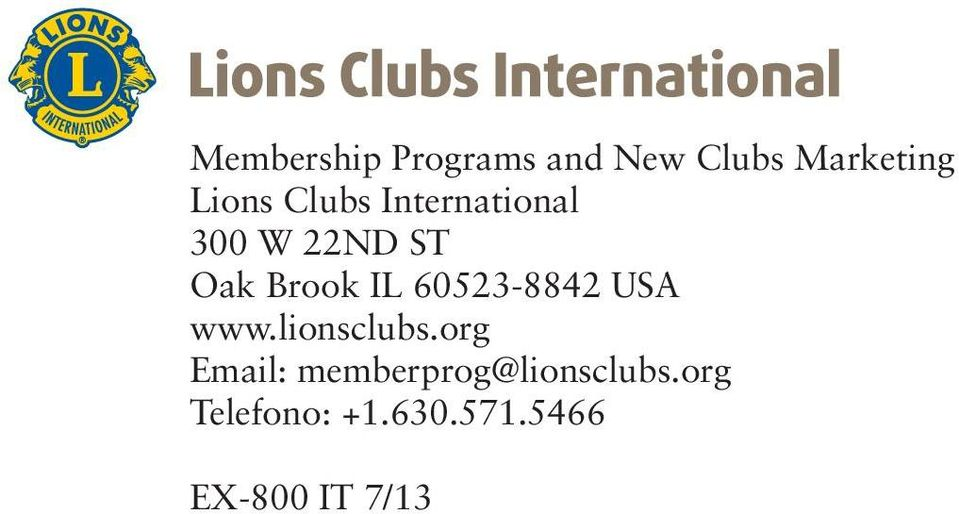 60523-8842 USA www.lionsclubs.