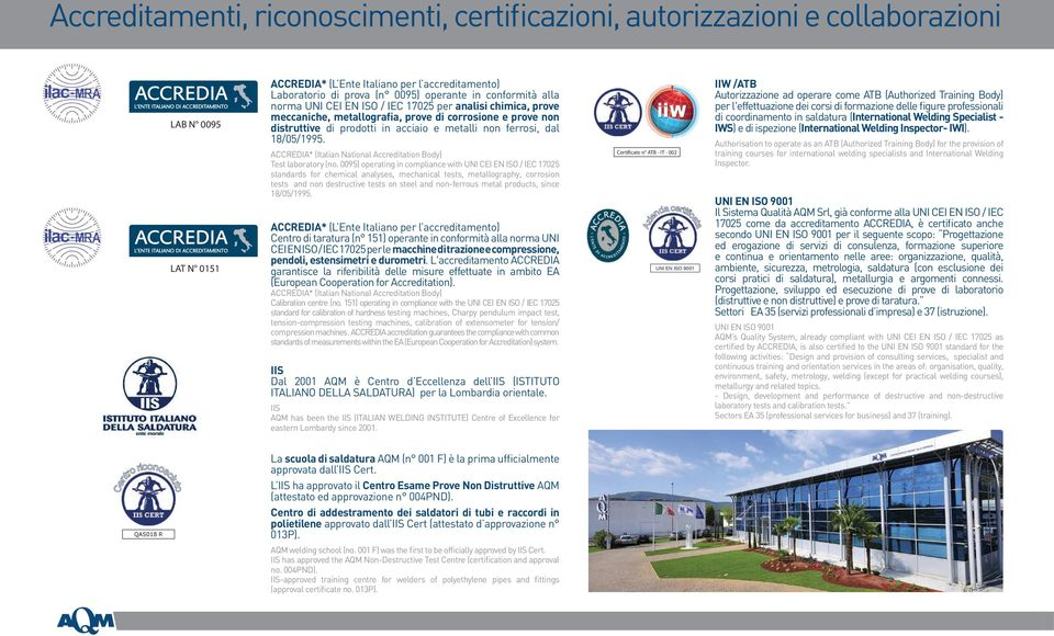 18/05/1995. ACCREDIA* (Italian National Accreditation Body) Test laboratory (no.