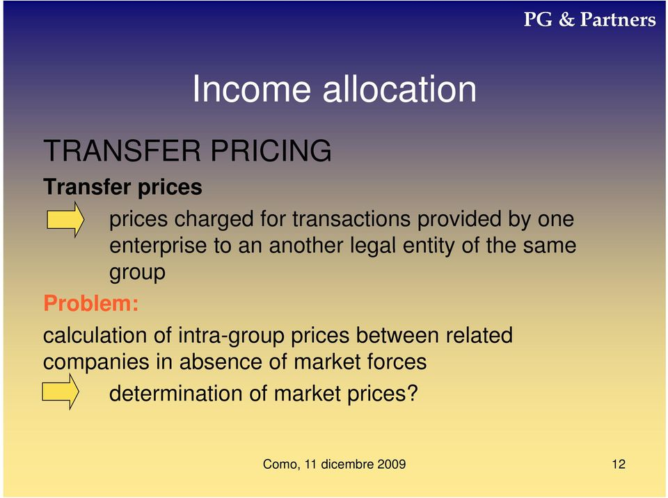 the same group Problem: calculation of intra-group prices between
