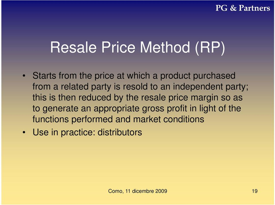 by the resale price margin so as to generate an appropriate gross profit in