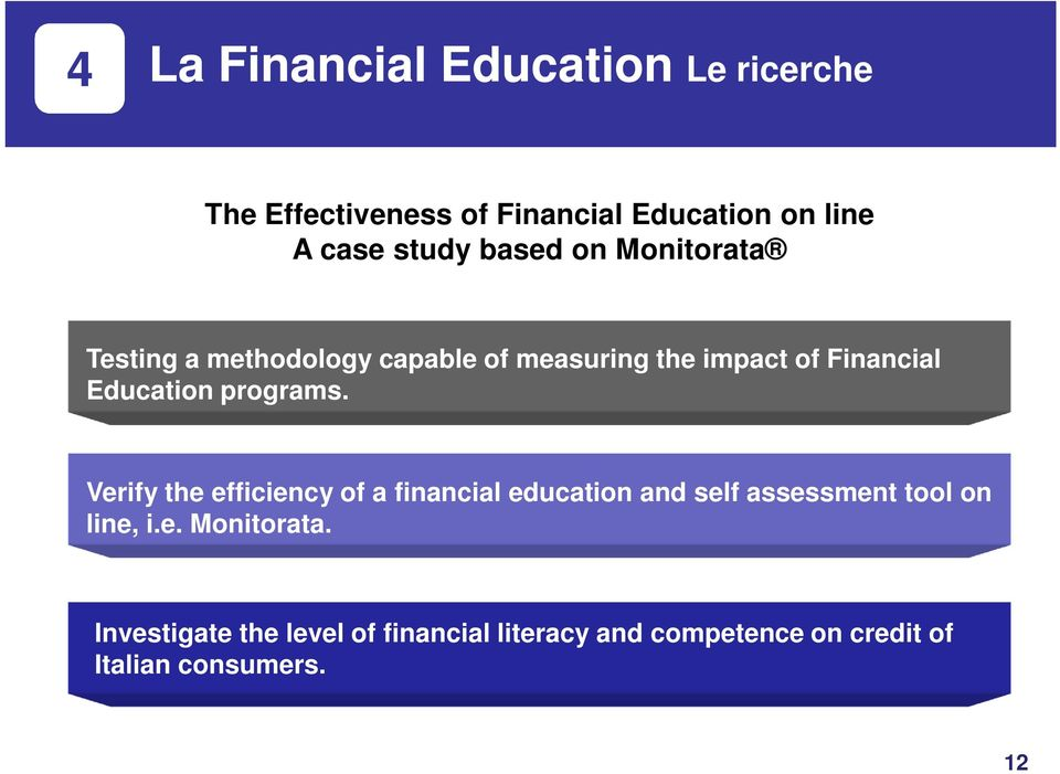 programs. Verify the efficiency of a financial education and self assessment tool on line, i.e. Monitorata.
