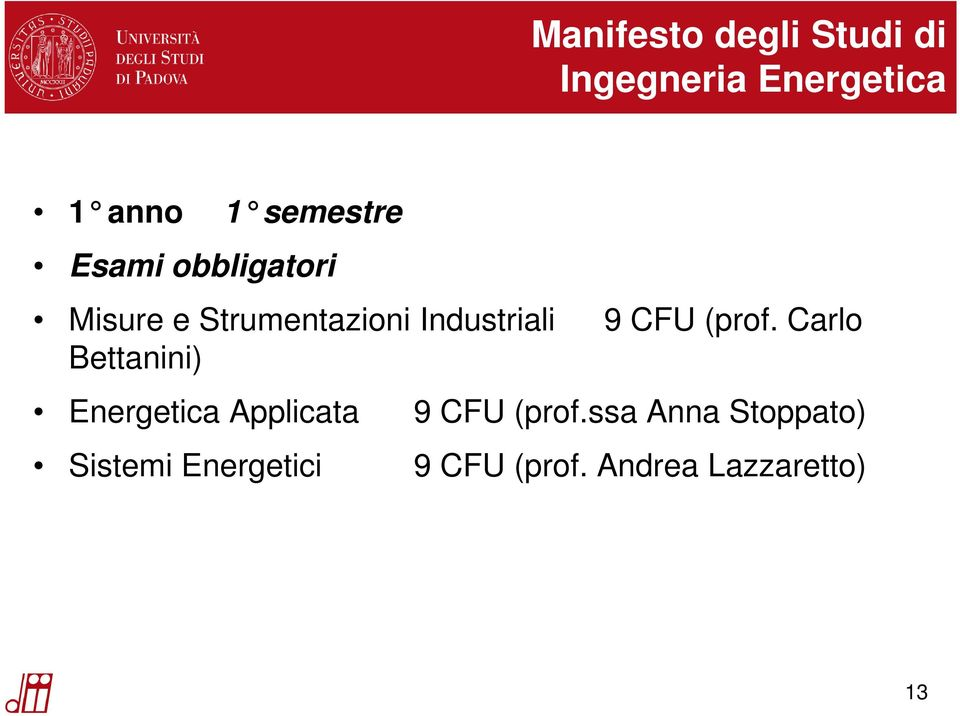 9 CFU (prof. Carlo Bettanini) Energetica Applicata 9 CFU (prof.