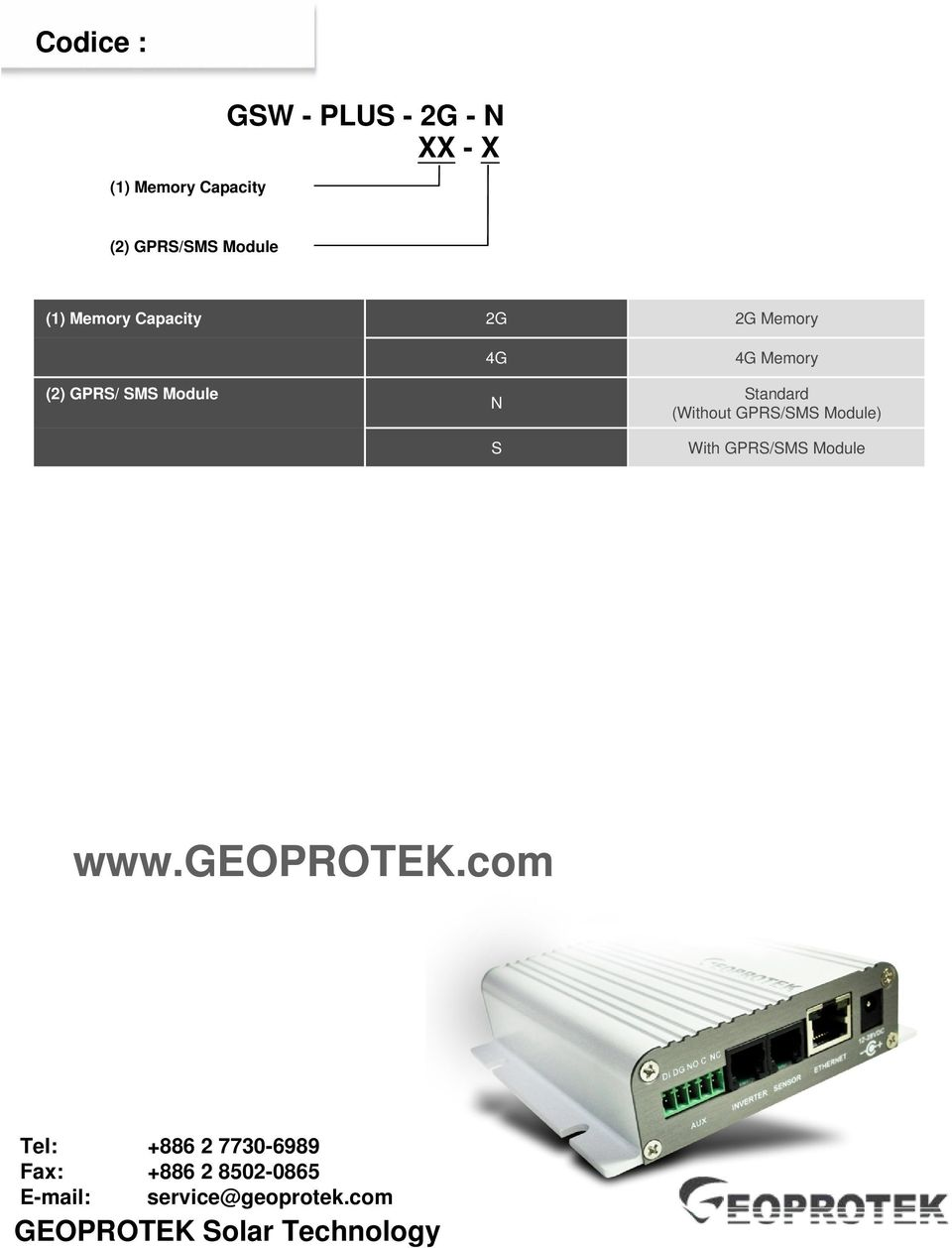 Memory Standard (Without GPRS/SMS Module) With GPRS/SMS Module www.