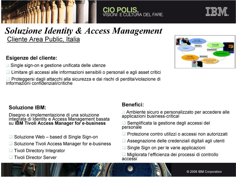 integrata di Identity e Access Management basata su IBM Tivoli Access Manager for e-business Soluzione Web based di Single Sign-on Soluzione Tivoli Access Manager for e-business Tivoli Directory