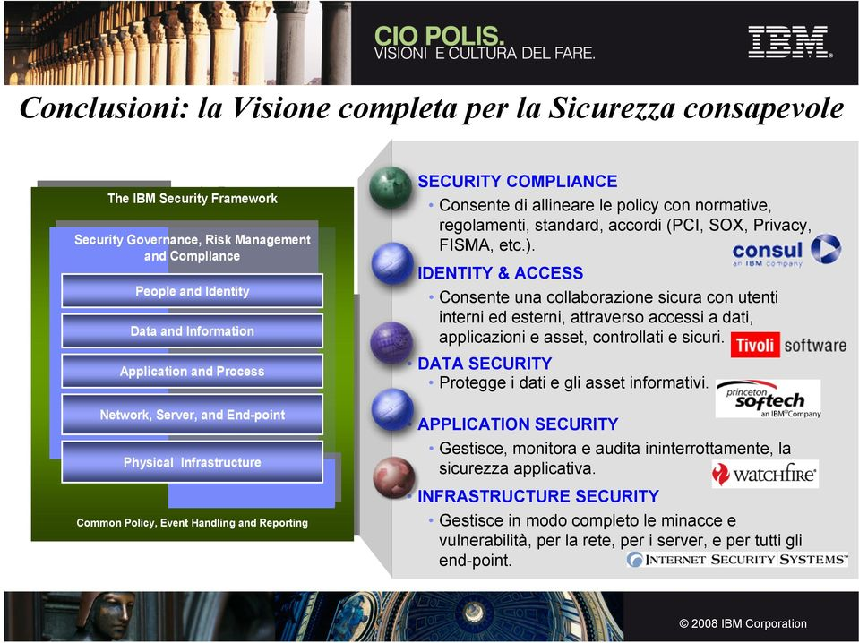 Policy, Event Handling and Reporting SECURITY COMPLIANCE Consente di allineare le policy con normative, regolamenti, standard, accordi (PCI, SOX, Privacy, FISMA, etc.).