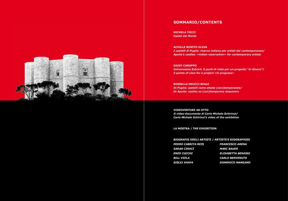 (con)temporanee/ In Apulia: castles as (con)temporary stopovers VIDEOVERTURE AD OTTO Il video-documento di Carlo Michele Schirinzi/ Carlo Michele Schirinzi s video of the exhibition LA MOSTRA /