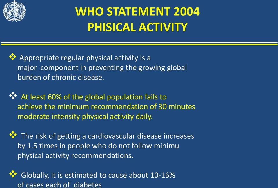 At least 60% of the global population fails to achieve the minimum recommendation of 30 minutes moderate intensity physical