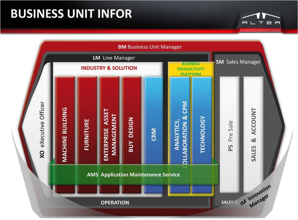 BM Business Unit Manager LM Line Manager INDUSTRY & SOLUTION BUSINESS PRODUCTIVITY