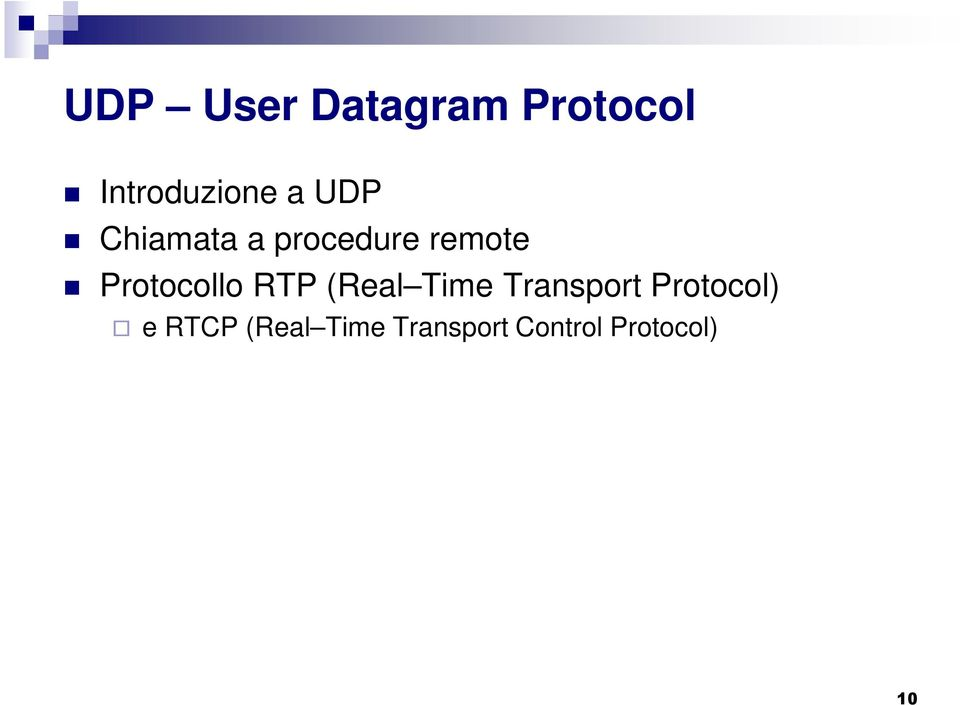 Protocollo RTP (Real Time Transport