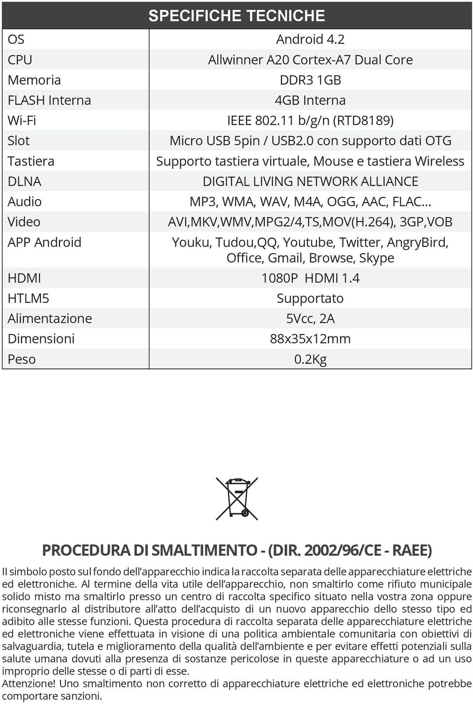 0 con supporto dati OTG Supporto tastiera virtuale, Mouse e tastiera Wireless DIGITAL LIVING NETWORK ALLIANCE MP3, WMA, WAV, M4A, OGG, AAC, FLAC AVI,MKV,WMV,MPG2/4,TS,MOV(H.