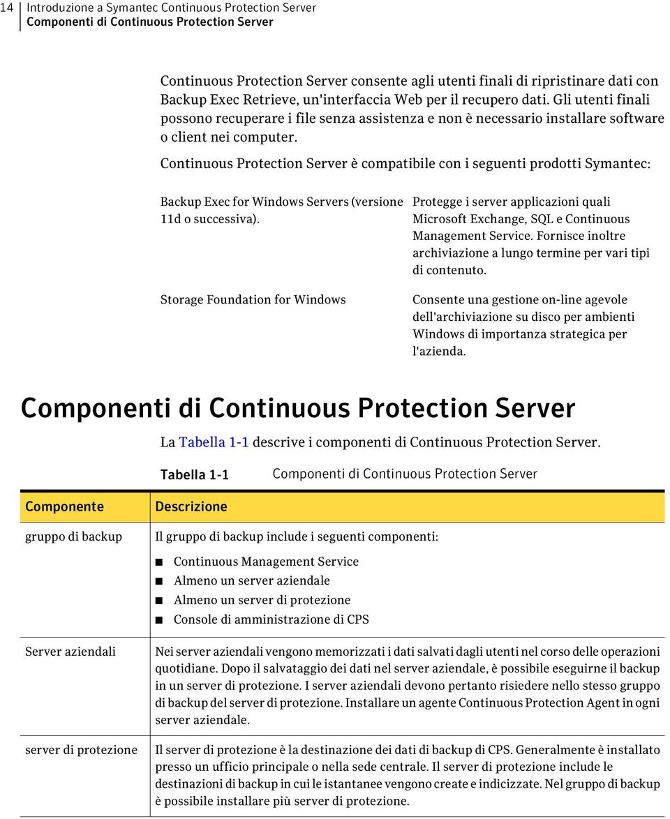 Continuous Protection Server è compatibile con i seguenti prodotti Symantec: Backup Exec for Windows Servers (versione 11d o successiva).