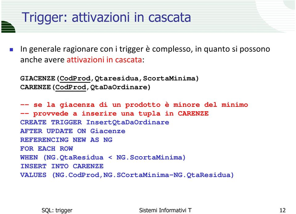 minimo -- provvede a inserire una tupla in CARENZE CREATE TRIGGER InsertQtaDaOrdinare AFTER UPDATE ON Giacenze REFERENCING NEW AS NG
