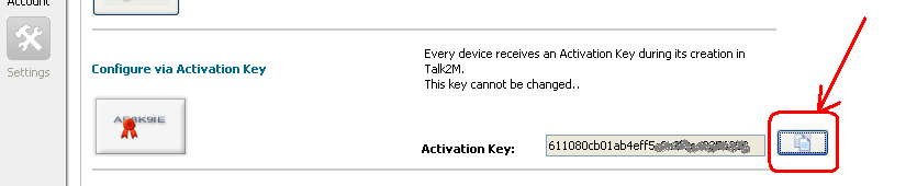 Nella finestra di Setup, compare l Activation Key, generato dal server Talk2M.