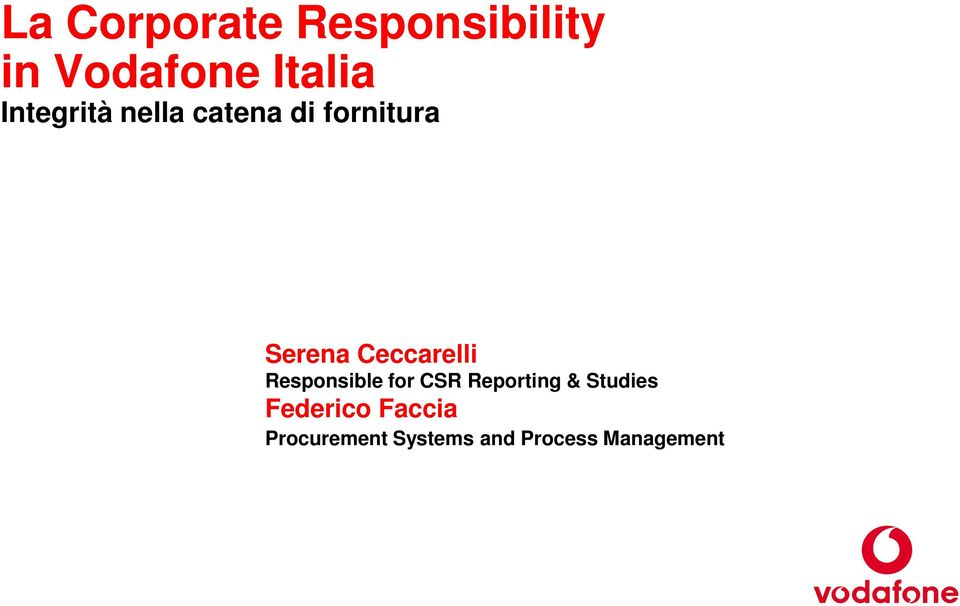 Ceccarelli Responsible for CSR Reporting &