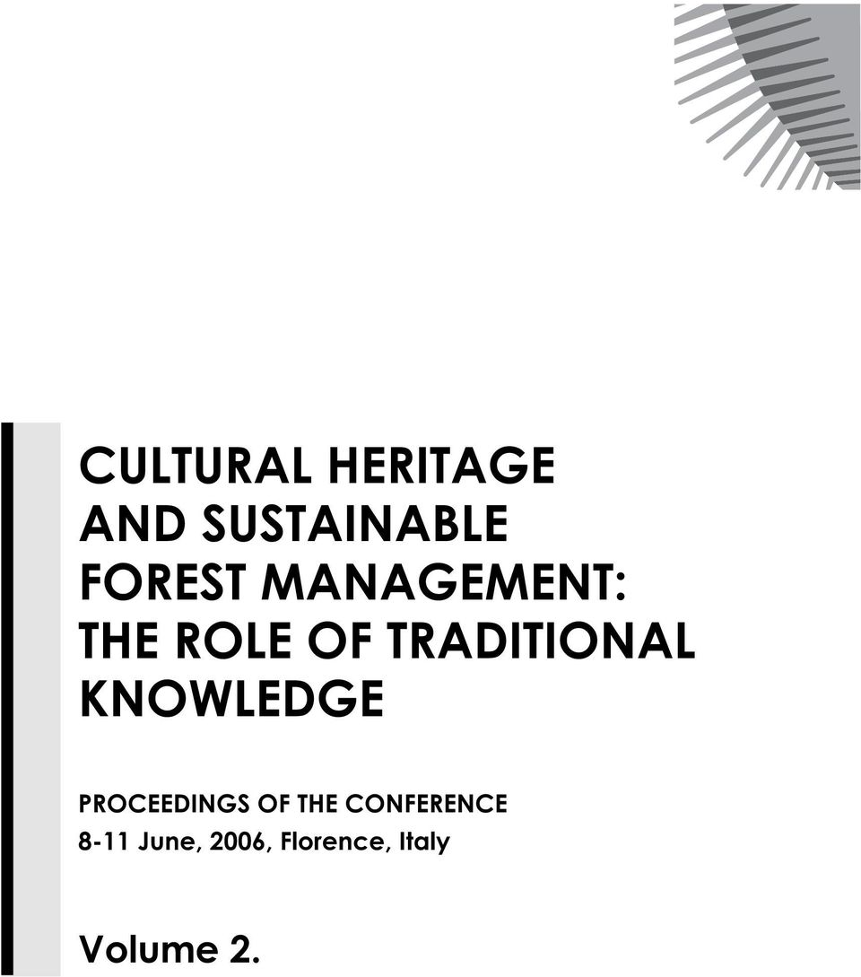 TRADITIONAL KNOWLEDGE PROCEEDINGS OF