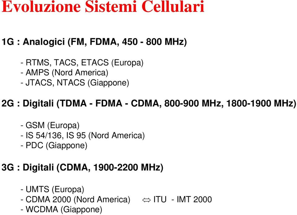 1800-1900 MHz) - GSM (Europa) - IS 54/136, IS 95 (Nord America) - PDC (Giappone) 3G : Digitali