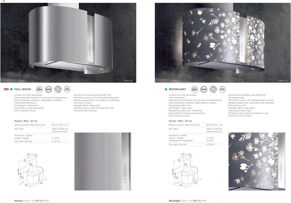 metallico, asportabile e lavabile Pulsantiera elettronica Fari alogeni easy open Possibilità di uscita posteriore Scotch brite stainless steel (AISI 304) Perimeter suction with phonoabsorbing panel