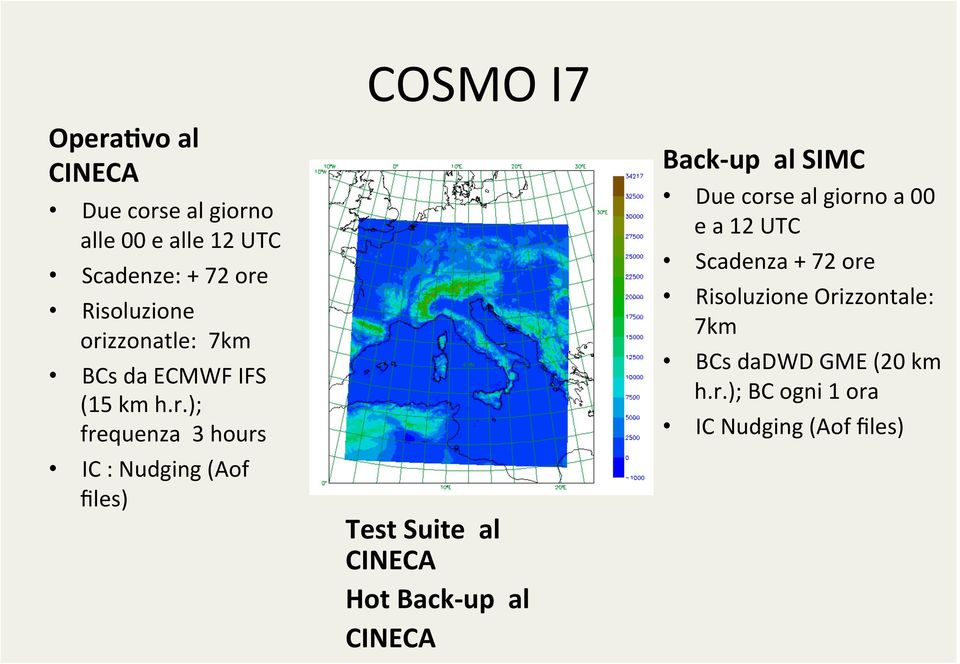 Test Suite al CINECA Hot Back- up al CINECA Back- up al SIMC Due corse al giorno a 00 e a 12 UTC