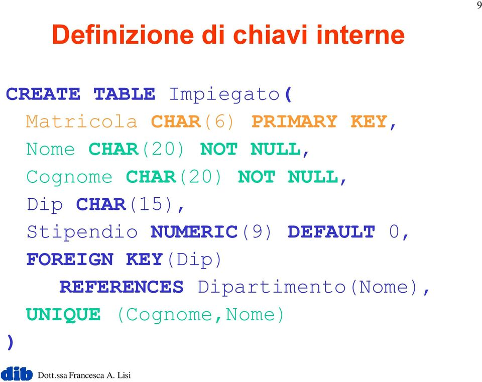 CHAR(20) NOT NULL, Dip CHAR(15), Stipendio NUMERIC(9) DEFAULT