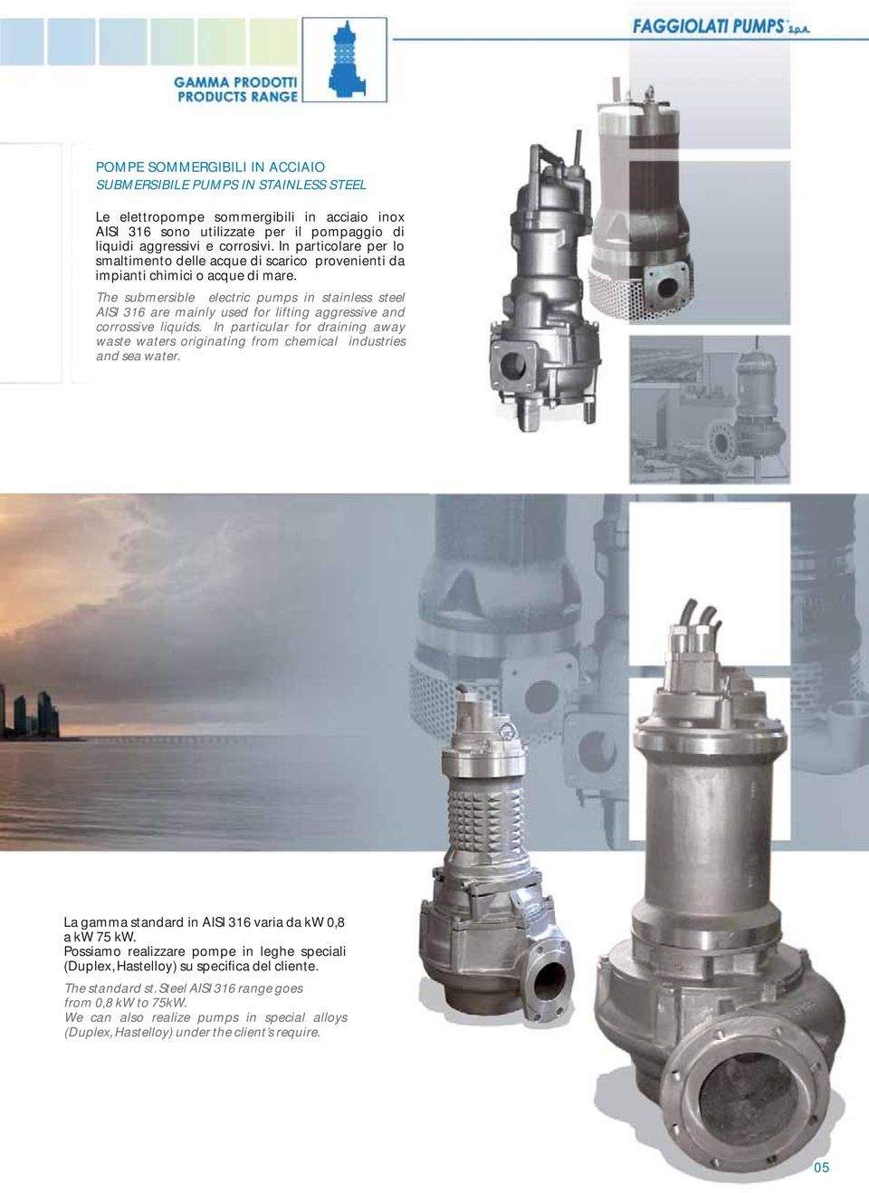 The submersible electric pumps in stainless steel AISI 316 are mainly used for lifting aggressive and corrossive liquids.