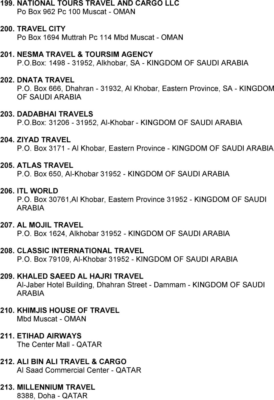 ZIYAD TRAVEL P.O. Box 3171 - Al Khobar, Eastern Province - KINGDOM OF SAUDI ARABIA 205. ATLAS TRAVEL P.O. Box 650, Al-Khobar 31952 - KINGDOM OF SAUDI ARABIA 206. ITL WORLD P.O. Box 30761,Al Khobar, Eastern Province 31952 - KINGDOM OF SAUDI ARABIA 207.