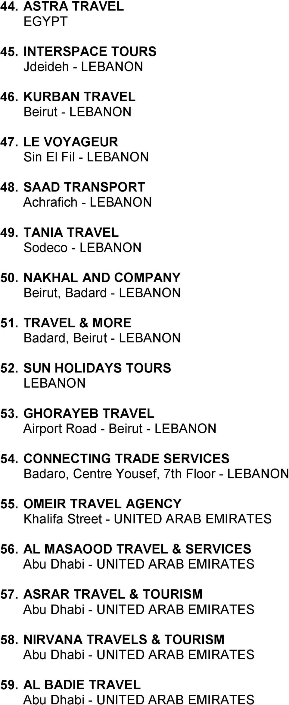 TRAVEL & MORE Badard, Beirut - LEBANON 52. SUN HOLIDAYS TOURS LEBANON 53. GHORAYEB TRAVEL Airport Road - Beirut - LEBANON 54.
