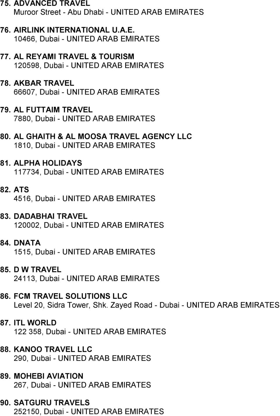 ALPHA HOLIDAYS 117734, Dubai - UNITED ARAB EMIRATES 82. ATS 4516, Dubai - UNITED ARAB EMIRATES 83. DADABHAI TRAVEL 120002, Dubai - UNITED ARAB EMIRATES 84. DNATA 1515, Dubai - UNITED ARAB EMIRATES 85.