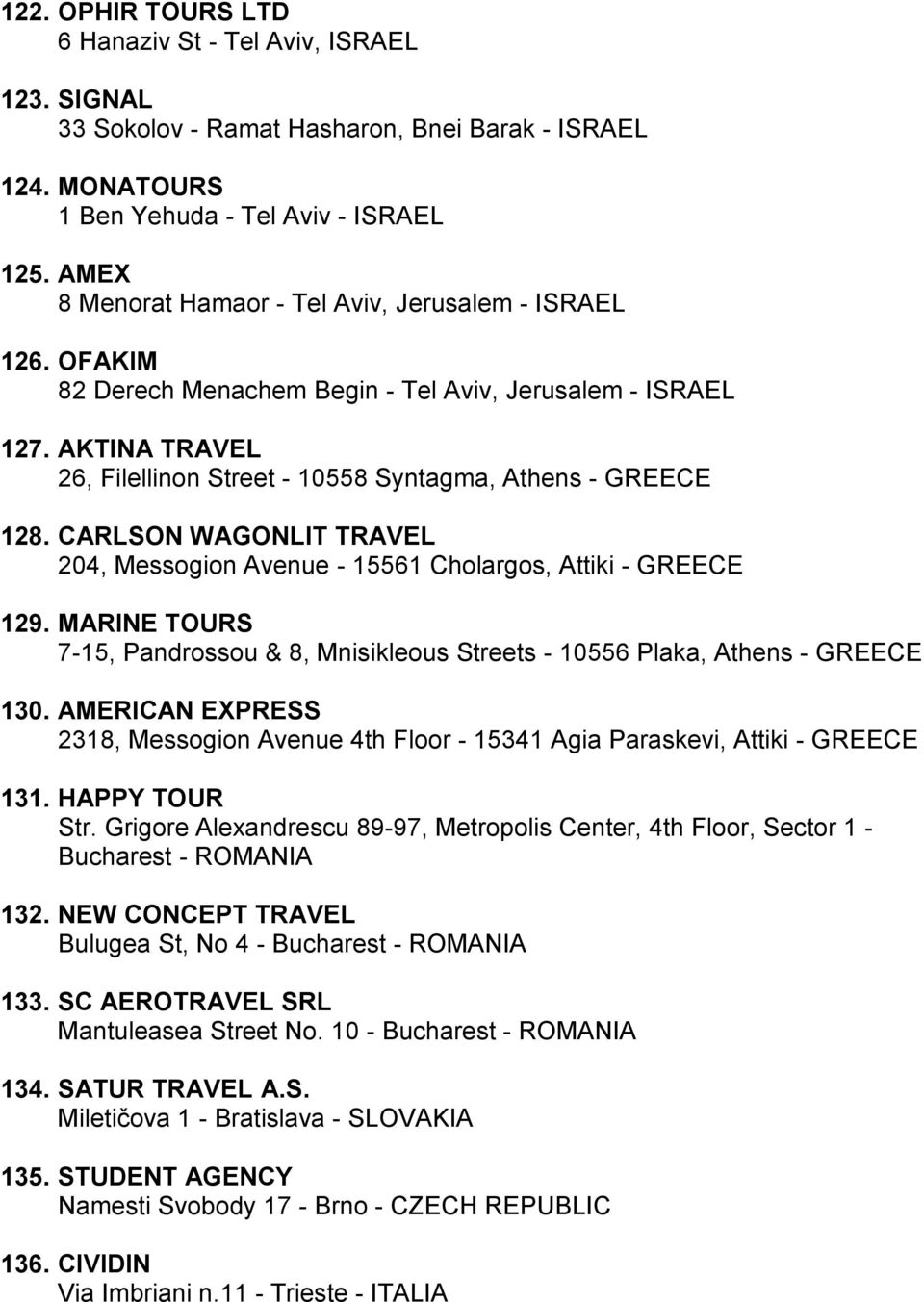 CARLSON WAGONLIT TRAVEL 204, Messogion Avenue - 15561 Cholargos, Attiki - GREECE 129. MARINE TOURS 7-15, Pandrossou & 8, Mnisikleous Streets - 10556 Plaka, Athens - GREECE 130.