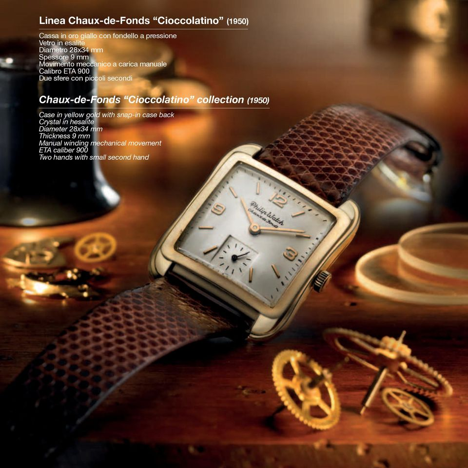 secondi Chaux-de-Fonds Cioccolatino collection (1950) Case in yellow gold with snap-in case back Crystal in
