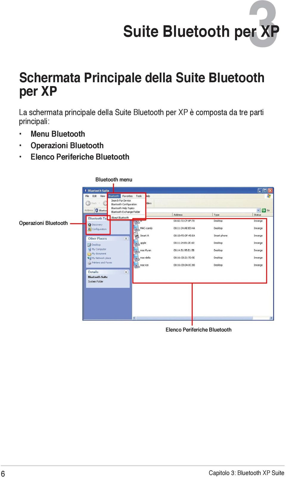Operazioni Bluetooth Elenco Periferiche Bluetooth 3 Suite Bluetooth per XP