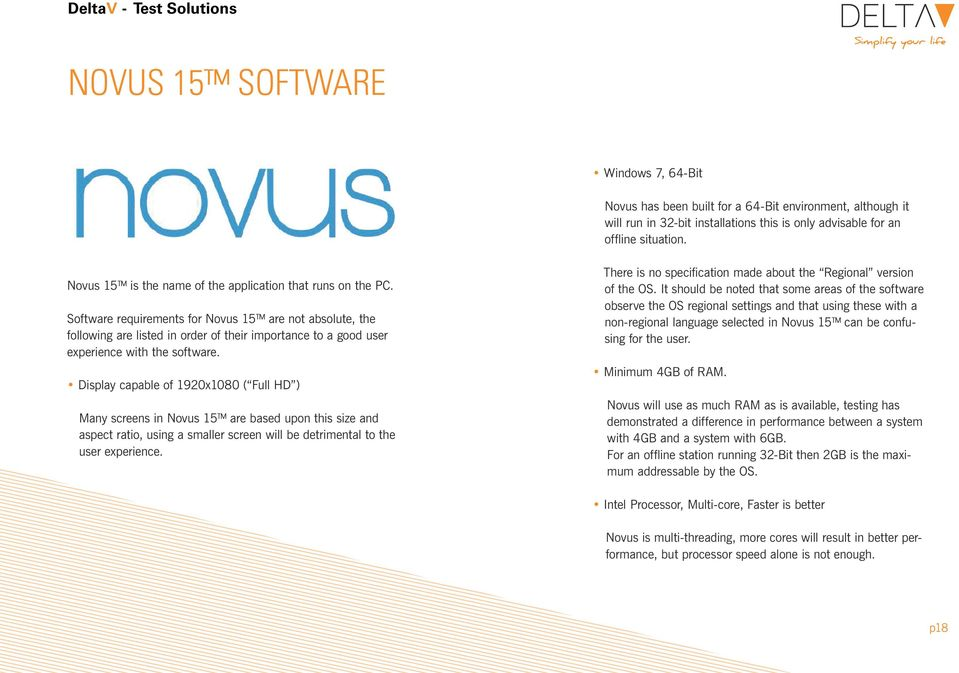 Software requirements for Novus 15 are not absolute, the following are listed in order of their importance to a good user experience with the software.