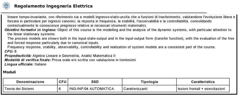 Obiettivi formativi in Inglese: Object of this course is the modelling and the analysis of the dynamic systems, with particular attention to the linear stationary systems.
