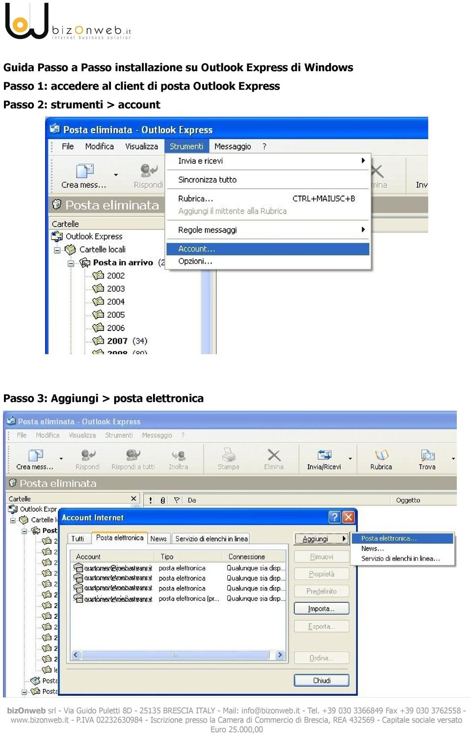 client di posta Outlook Express Passo 2: