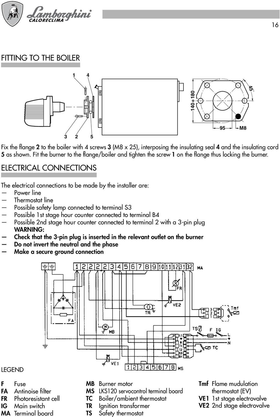 ELECTRICAL CONNECTIONS The electrical connections to be made by the installer are: Power line Thermostat line Possible safety lamp connected to terminal S3 Possible 1st stage hour counter connected