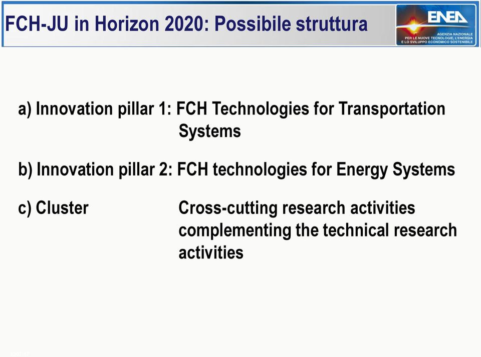 FCH technologies for Energy Systems c) Cluster Cross-cutting