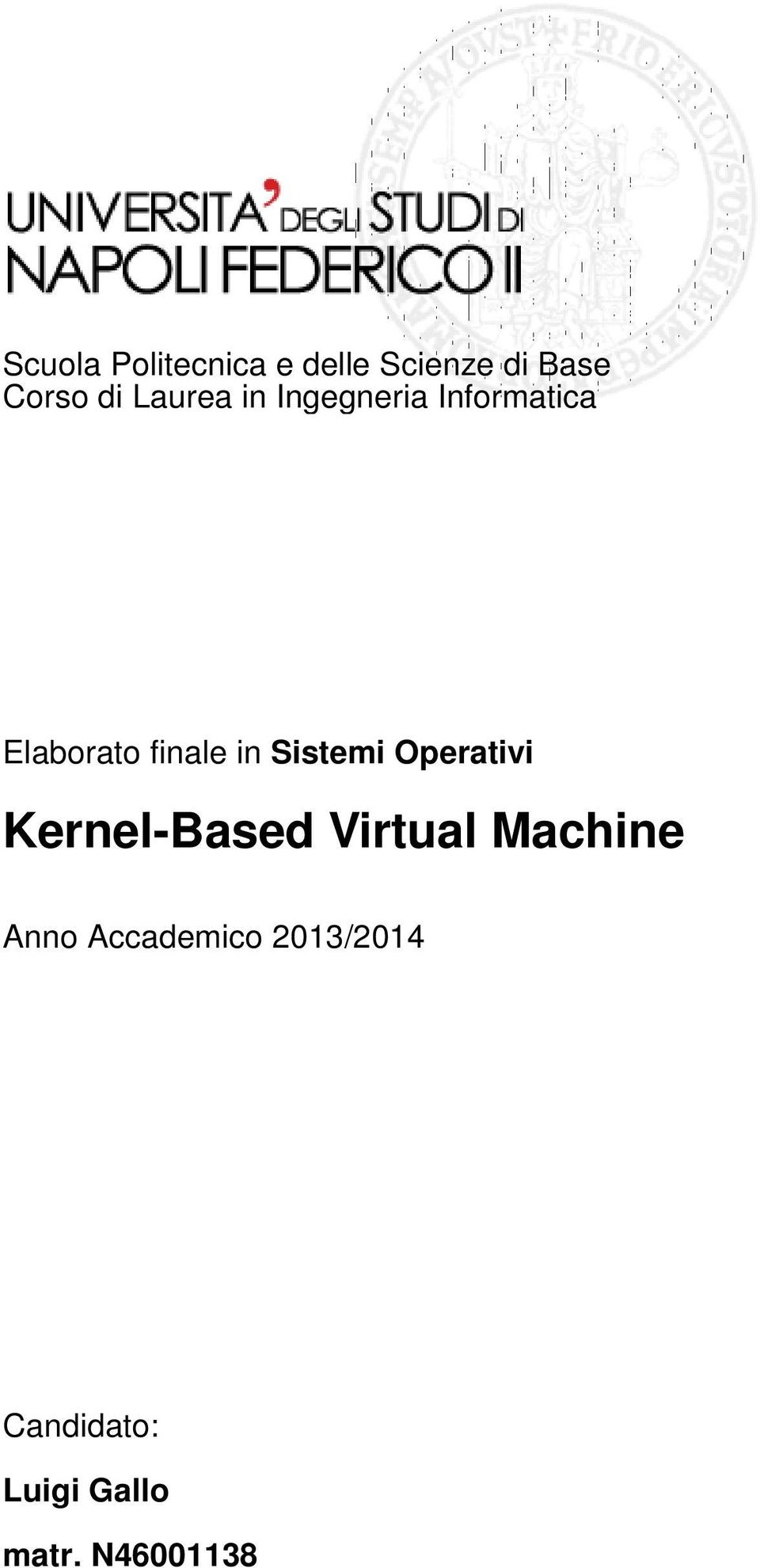 Sistemi Operativi Kernel-Based Virtual Machine Anno