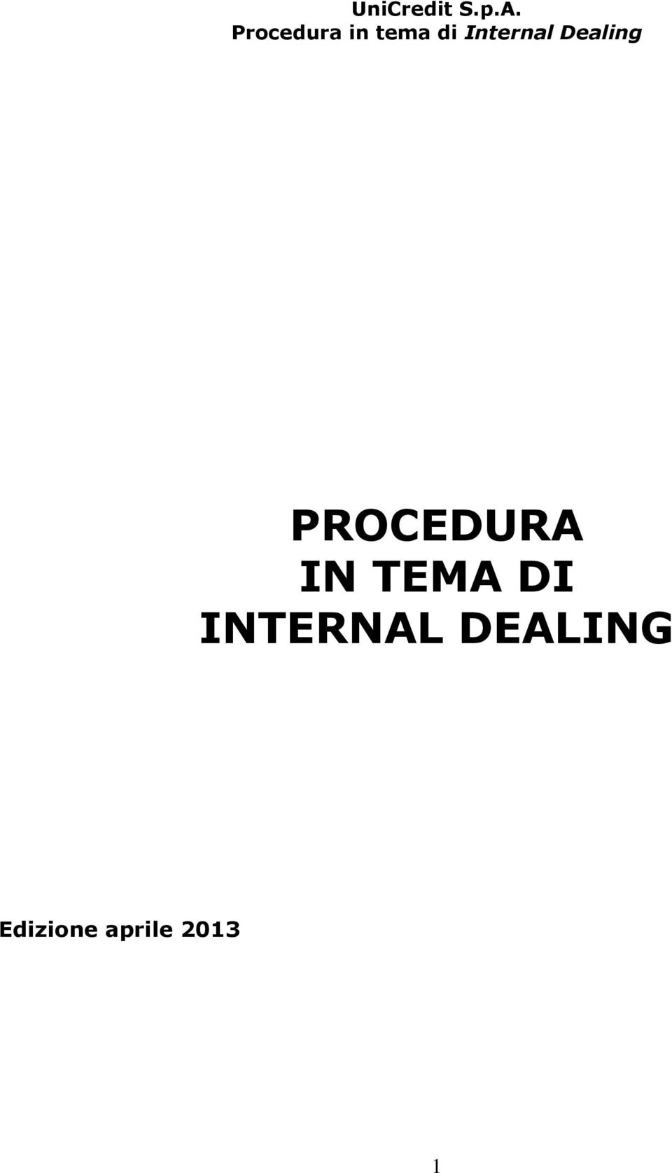 Internal Dealing PROCEDURA