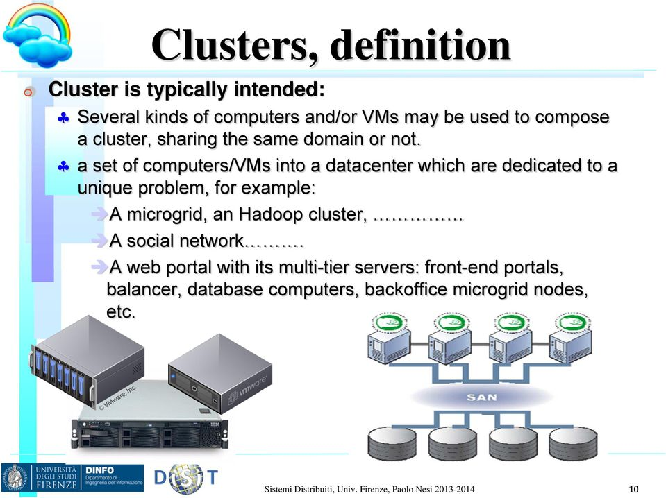 a set of computers/vms into a datacenter which are dedicated to a unique problem, for example: A microgrid, an Hadoop