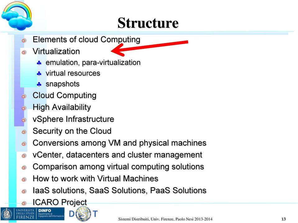 vcenter, datacenters and cluster management Comparison among virtual computing solutions How to work with Virtual