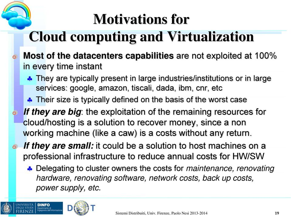 cloud/hosting is a solution to recover money, since a non working machine (like a caw) is a costs without any return.
