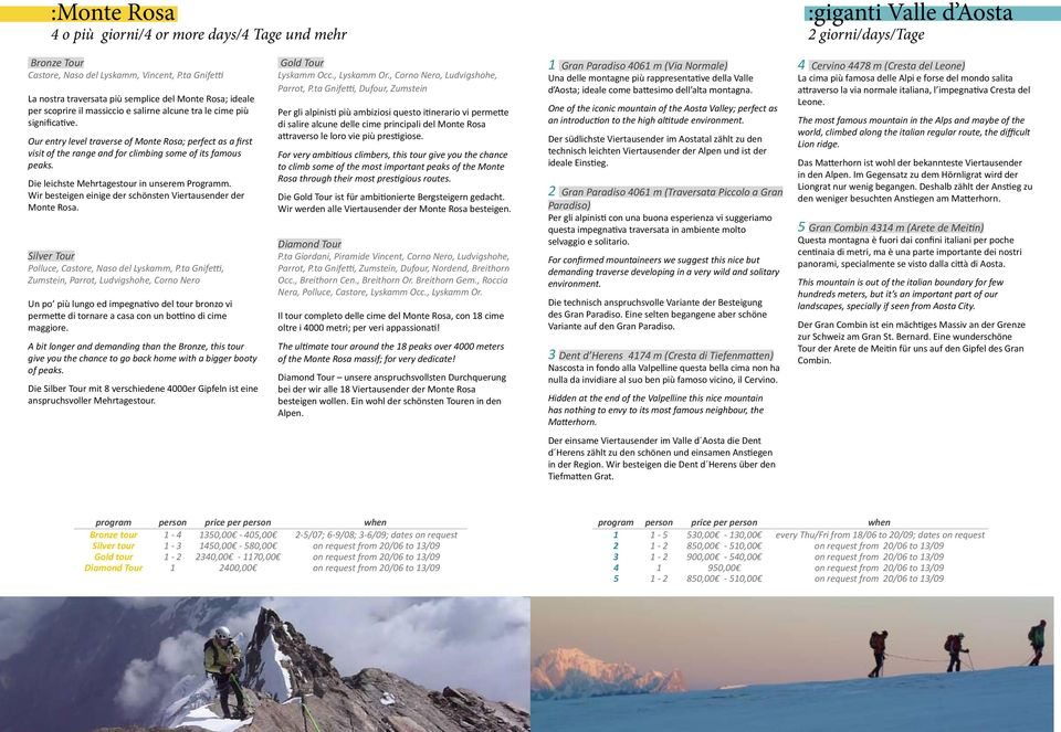 Our entry level traverse of Monte Rosa; perfect as a first visit of the range and for climbing some of its famous peaks. Die leichste Mehrtagestour in unserem Programm.