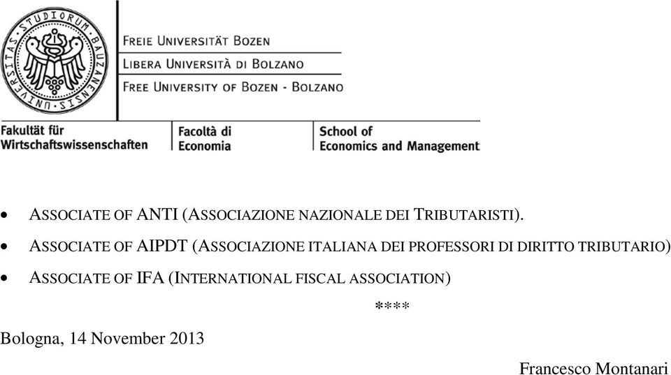 DIRITTO TRIBUTARIO) ASSOCIATE OF IFA (INTERNATIONAL FISCAL