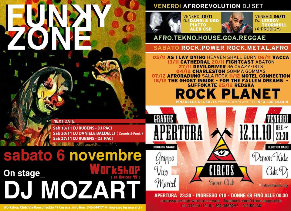 MOTEL CONNECTION 18/12 THE GHOST INSIDE - FOR THE FALLEN DREAMS - SUFFOKATE 25/12 REDSKA ROCK PLANET PINARELLA DI CERVIA WWW.ROCKPLANET.IT INFO 336.