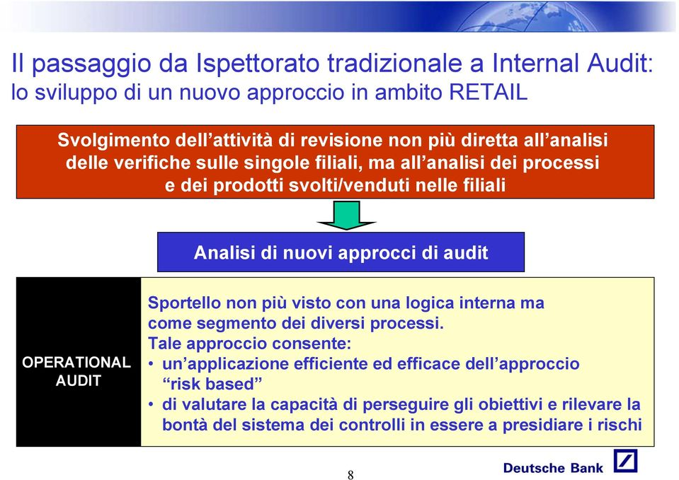 audit OPERATIONAL AUDIT Sportello non più visto con una logica interna ma come segmento dei diversi processi.