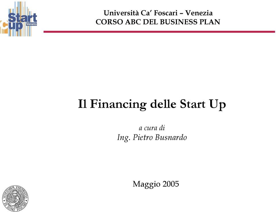 Financing delle Start Up a cura