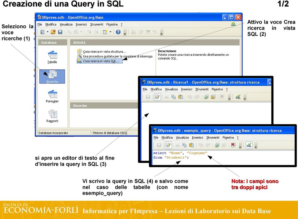 d'inserire la query in SQL (3) Vi scrivo la query in SQL (4) e salvo come