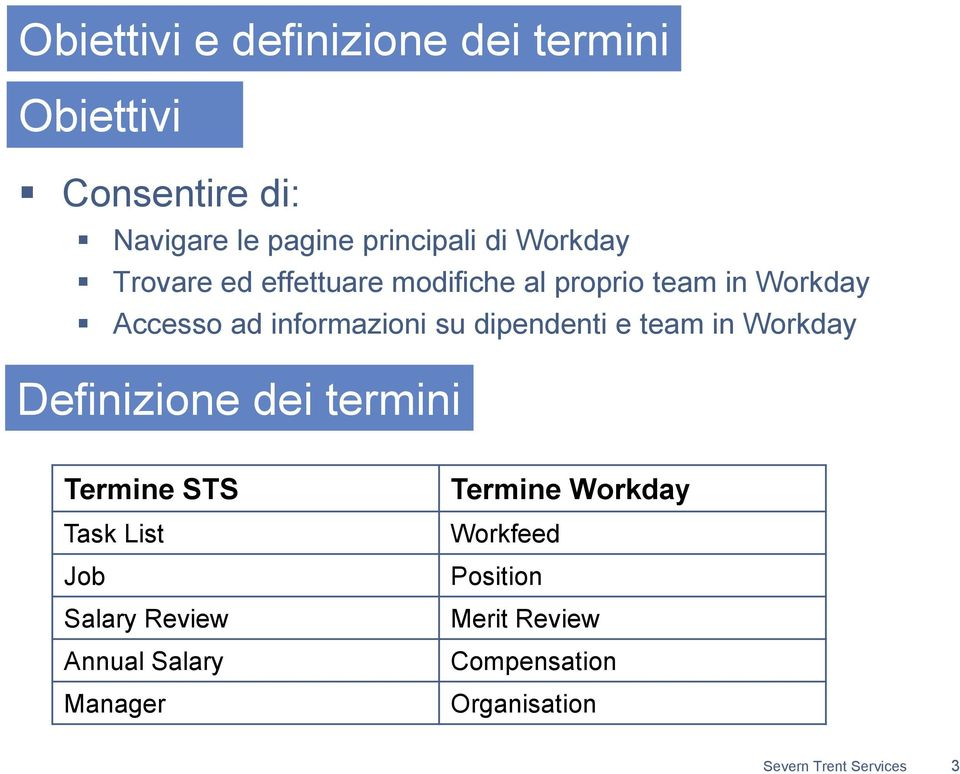 dipendenti e team in Workday Definizione dei termini Termine STS Task List Job Salary Review Annual