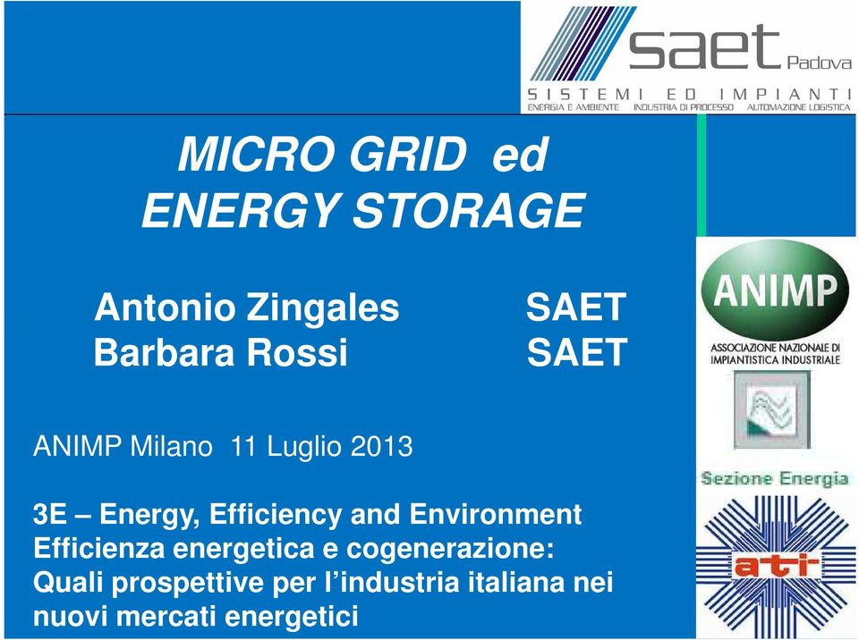 and Environment Efficienza energetica e cogenerazione: Quali
