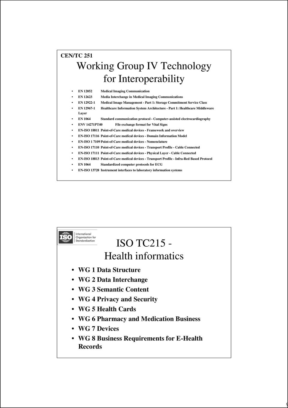 electrocardiography ENV 14271PT40 File exchange format for Vital Signs EN-ISO 18811 Point-of-Care medical devices - Framework and overview EN-ISO 17116 Point-of-Care medical devices - Domain
